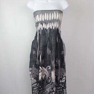 Lapis tube top strapless dress gray white floral